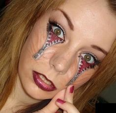 Creepy Zipper Eyes-Face Art, face paint? make-up? Would be great for Halloween Costume