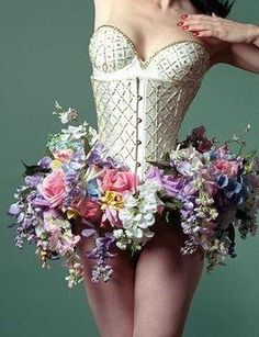 "Floral tutu – art or ""fashion"" …. This would be fun to make for a Rapunzel type ballet costume… with flowers in a long hair braid… too."