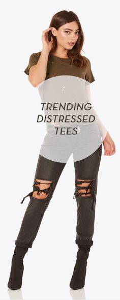 Tops For Women  :    Trending distressed tees.  - #Tops https://talkfashion.net/clothing/tops/tops-for-women-trending-distressed-tees/