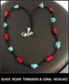 Black Heishi TURQUOISE & CORAL NATIVE American by AVIASPLACE, $18.00