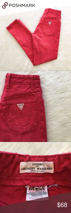 Vintage Guess Pink High Waisted Mom Jeans Vintage pink/red high waisted mom jeans. RARE!! Extremely RARE! These are BEAUTIFUL. A few stains that are shown in pictures. They are very hard to see. I did my best to show them. Size 4. Approximate measurements are 24' waist, 17' hips, & 30' inseam. Measuring the middle of your stomach is the best way to ensure fit. Guess by Marciano Jeans Skinny