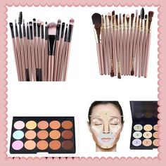 Gold 15 piece makeup set with contour 00% brand new and high quality  Quantity:15pcs/set  Gender:Women  Length: approx 13~15cm  Brush Material: Synthetic Hair  Very Soft and Comfortable  Suitable for both professional and home use  The makeup tool set includes: 1pc powder brush, 6pcs eye shadow brush,1pc eyebrow brush,1pc sponge eye shadow brush, 1pc eyeliner brush, 3pcs two-head brush, 1pc lip brush, 1pc comb brush  Package include:1*15pcs/set makeup brushes plus 15 color contour Makeup…