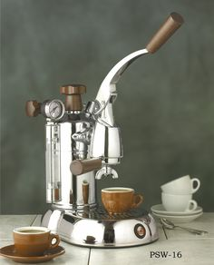 "la Pavoni ""Stradivari"" Lever Press Home Espresso and Cappuccino Machine with Wood Accents 8 and 16 Cup - All About Coffee n Tea Cappuccino Maker, Cappuccino Coffee, Espresso Maker, Coffee Mugs, Chemex Coffee, Coffee Tables, Coffee Shop, Coffee Cafe, Coffee Truck"