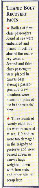 *TITANIC RECOVERY FACTS ~ I wonder how they determined who everyone was so fast ,to pace them in coffins, bags or on ice??