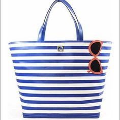 "HP   NWT KS Tote Make a Splash Large Tote KS NY Rey Make a Splash Sunglasses Beach Tote. 22"" x 15"" x 6"". Handles have 8.5 inch drop. Open top, interior zip, cell phone, and multi function pockets. Removable zipped bottom. MSRP $398 plus tax. Ask about free shipping on this bag  kate spade Bags Totes"