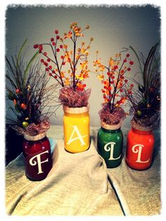 DIY fall decor: paint inside or outside mason jar, add vinyl lettering and decor!