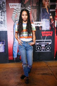 Zoe Kravitz rocked her 505C jeans after DJing our launch party at the Bowery Ballroom with Lolawolf.