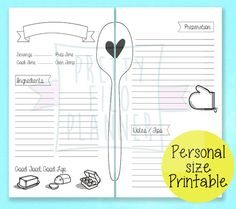 Planner Printable Recipe Pages in Personal by PrettyFiloPlanner