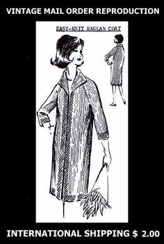 P-166 Vintage 1960s Mail Order Design Women's Knitted Knit COAT Knitting Pattern #PATTERNPEDDLERP166