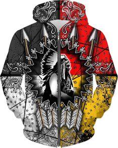 Native Indian Wolf 3D Printed Men// Women Sweatshirt// Hoodies// Zip Hoodies F09