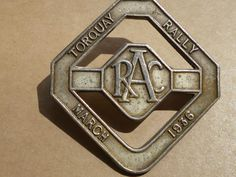 RAC Royal Automobile Club Rally Torquay Devon Badge Motor Car Automobilia 1936