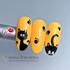 130 best nails ideas for spring 2019 page 02 - - Beauty Cat Nail Designs, Nail Art Designs Videos, Nail Art Videos, Cat Nail Art, Animal Nail Art, Cat Nails, Sunflower Nails, Sunflower Art, Nail Logo