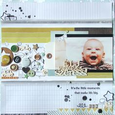 """Not sure what to do with all those leftover small embellishments? Why not cluster them all on a page like this! """"Live laugh love!"""" by p.juli at @Studio_Calico"""