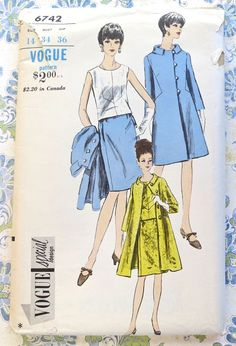 Vogue 6742  Vintage 1960s Womens Dress Coat Pattern by Fragolina, $22.00