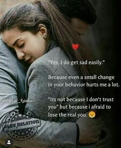 """It's not because I don't trust you"""" but because I'm afraid to lose you Cute Love Quotes, Forever Love Quotes, Soulmate Love Quotes, Couples Quotes Love, Love Picture Quotes, Love Husband Quotes, Beautiful Love Quotes, Karma Quotes, Love Quotes For Her"""