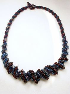 Tangled Up in Blue Cellini Spiral Beadwoven by littlestonedesign,