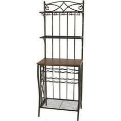 Metal Bakers Rack with Wine Storage, Antique Brass Finish