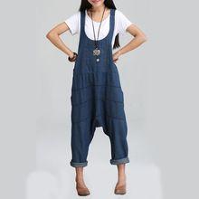 Printemps Denim Combinaisons Femmes Harem Pantalon Lâche Jeans Gallus Barboteuses Bretelle Femme Grande Taille(China (Mainland))