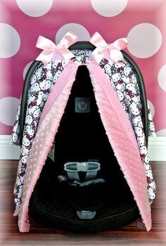 Jaydenandolivia HELLO KITTY MINKY Carseat Canopy Car Seat Cover By JaydenandOlivia