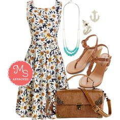 Summery daisy dress and brown accessories. (Items are from modcloth.com but can't find the original source.)