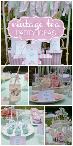 A pink and mint vintage tea party with a fabric garland, beautiful cake pops and fondant topped cookies!  See more party ideas at CatchMyParty.com!