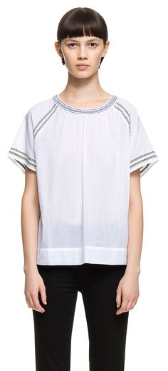 READY TO WEAR White beads t-shirt IVORY