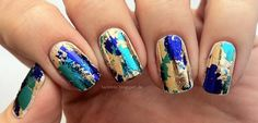 Blue, Green and Gold manicure