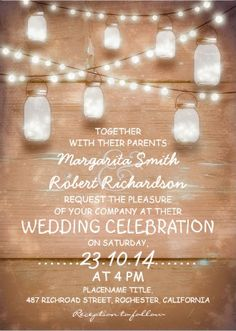 #save_the_date wedding invitations. Rustic country wood string lights and illuminated mason jars.