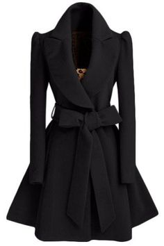 Noble Turn-Down Collar Long Sleeve Pure Color Self Tie Belt Women's Coat Dress Coats | RoseGal.com Mobile