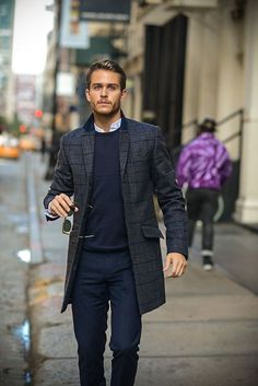 that coat // topcoat, windowpane, sweater