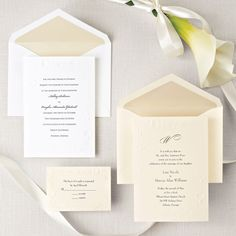 Exclusively Weddings Calla Lily Beauty Wedding Invitation is a floral wedding invitation. Artfully embossed calla lilies elegantly frame your wedding invitation.