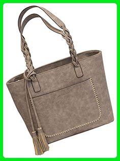 74957173ec RoseSummer Women PU Leather CrossBody Shoulder Bag Tote Purse Satchel Messenger  Handbag  Grey  -
