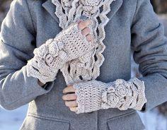 Elegant Rose Arm Warmers Ivory hand warmers by ValerieBaberDesigns