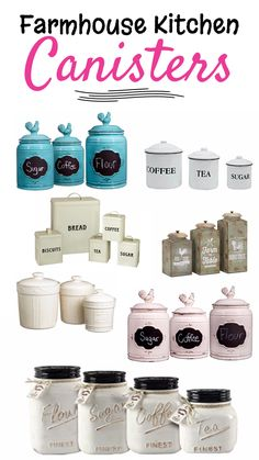 Farmhouse Country Kitchen Canisters and Tins