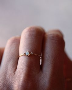 Solid 14k Gold Opal Ring, Opal Prong Ring, Opal Diamond Ring, Dainty Ring, Real Gold, Australian Opal, Natural Stone, Gemstone Ring
