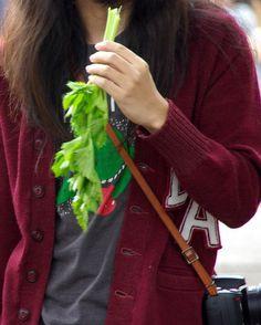 代々木公園にて。あちこちで野菜を食べる人々が続出。