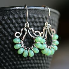 Handmade+green+dangle+earrings+oxidized+by+MimiMicheleJewelry,+$34.50