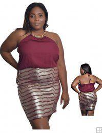 BURGUNDY AND METALLIC GOLD HALTER DRESS  WHOLESALE PLUS SIZE DRESSES  9421BY PLUS METTALIC DRESS UNIT PRICE$13.75 1-1-1PACKAGE3PCS