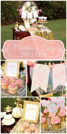This Mother's Day High Tea party features a vintage dessert table!  See more party ideas at CatchMyParty.com!