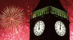Fireworks at Big Ben clock tower during New Year celebrations in London. New Year's Eve Around The World, Celebration Around The World, New Year Celebration, Around The Worlds, The Places Youll Go, Places To See, Big Ben Clock, New Year 2014, Travel Channel