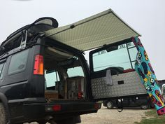 DIY-Camper-Markise – Duane Nascimento – Join the world of pin Landrover Camper, Kombi Motorhome, Off Road Camper, Truck Camper, Campervan, Land Rover Defender, Defender Camper, Land Rover Discovery 1, Discovery 2