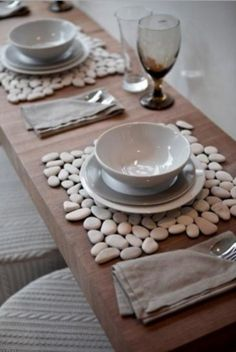 Pebble place mats - arrange and glue stones to a place mat and cut off any excess.