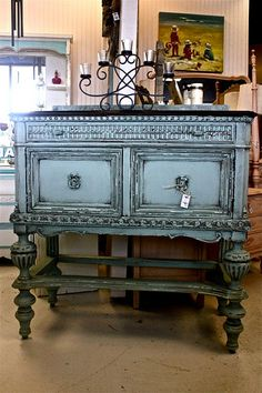 Piece from Shabby Chic Boutique in Destin. This guy is talented with the chalk paint! Love this color!