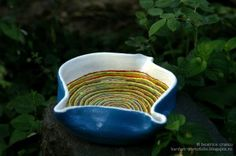 fractal sky little plate - hand painted clay pots