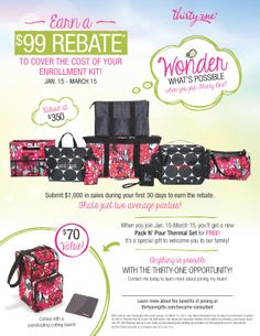 What an EXCITING time to join Thirty-One! Contact me ASAP for all the details! I'd love to have you on my team :)