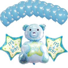 Baby Shower Party Supplies Blue Decorations Foil Balloons It's a Boy Teddy Bear #Anagram #BabyShower