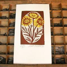 Flowers Linocut by Mark Hearld
