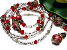 Lanyard id Badge Japanese Tensha Beads Red on Frost Angel Breakaway | PinkCloudsAndAngels