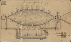 Desenho de aeronave-projétil dirigível, de autoria de João Evangelista de Negreiros Saião Lobato, 1903. Arquivo Nacional - Privilégios Industriais - BR AN,RIO PI.0.0.5989.