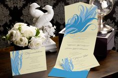 Whispering Feather - Pocket Wedding Invitation by MagnetStreet